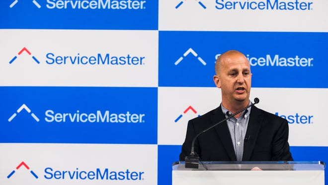 June 15, 2017 - Michael Shipman, vice president, Innovation and Development at ServiceMaster, speaks during a ceremony as ServiceMaster opens the first part of its corporate headquarters in Downtown Memphis on Thursday. The Innovation and Incubator Space Ground Floor is home in the former Tower Records space at Peabody Place and Third St.