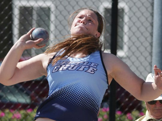 Little Chute's Tess Keyzers releases the shot put during