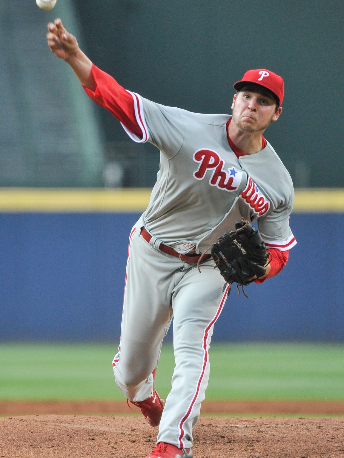 Philadelphia Phillies' Jerad Eickhoff pitches against the Atlanta Braves during the first inning Wednesday. Eickhoff struggled, lasted only 4 1/3 innings.