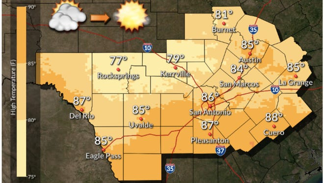 The National Weather Service's outlook calls for sunny skies in the afternoon.