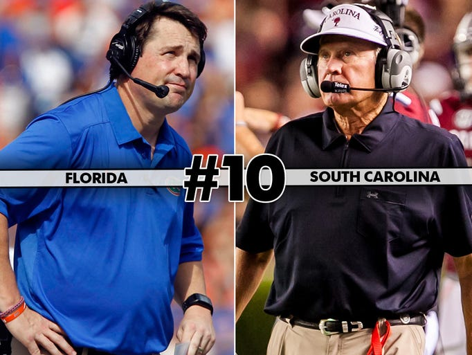 Florida (4-5, 3-4) at No. 12 South Carolina (7-2, 5-2), 7 p.m. ET, ESPN2: While this game has lost its luster with the Gators having lost four in a row, the Gamecocks have plenty at stake in their final SEC contest. If they win and Missouri loses one of its last two conference games, the SEC East belongs to them.