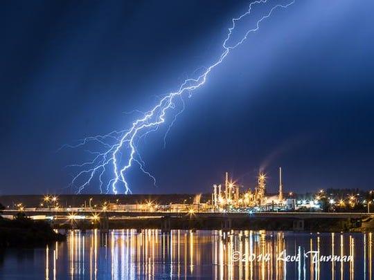 A lightning bolt lights up Great Falls