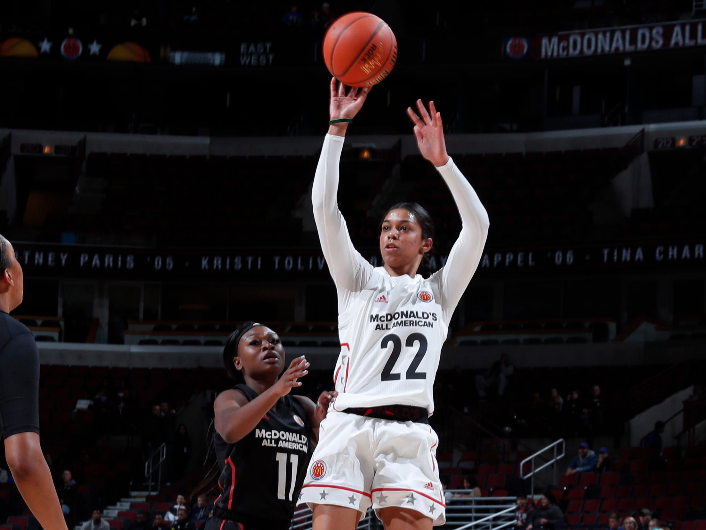 Mar 29, 2017; Chicago, IL, USA; McDonald's High School All-American West guard Evina Westrbrook (22) takes a shot during the 40th Annual McDonald's High School All-American Game at the United Center. Mandatory Credit: Brian Spurlock-USA TODAY Sports