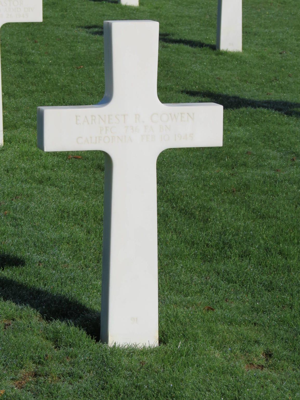 Earnest Cowen's final resting place.