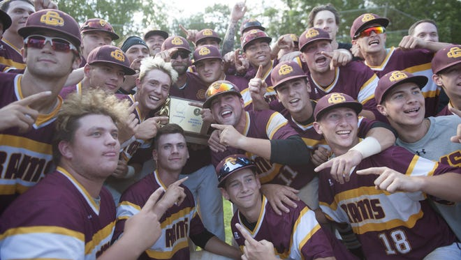 Members of the Gloucester Catholic baseball team celebrate their 15-5 win over Newark Academy in the Non-Public B final game played at Toms River South.