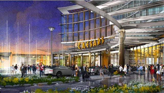 This is a rendering of Caesars New York's proposed $880 million resort casino in Woodbury, Orange County. The state Gaming Facility Location Board will hold daylong comment periods in Poughkeepsie, Ithaca and Albany on the 16 remaining applications for casino licenses.
