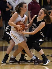 Ramey Wilder of Boonville is called for the foul while