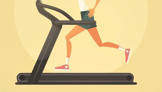 Woman character running on treadmill. Vector flat cartoon illustration