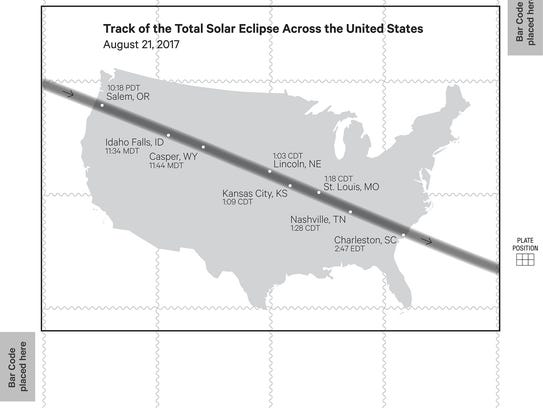 A map of the Aug. 21 eclipse path across the U.S. is
