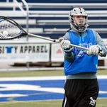 Harper Creek goalie Ben Kowitz making the outlet pass during Monday's practice.