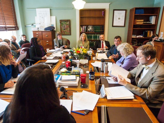Rep, Janssen Willhoit, R-St. Johnsbury, third from right, questions Michelle Childs of the Legislative Council, left, as the House Judiciary Committee discusses the marijuana legalization bill on the opening day of the legislature at the State House in Montpelier on Wednesday, January 3, 2018.