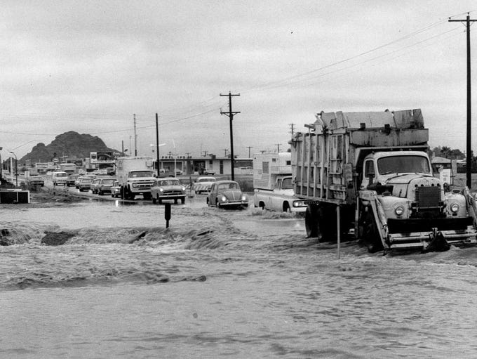Indian Bend Wash and McDowell Road in 1967 before the