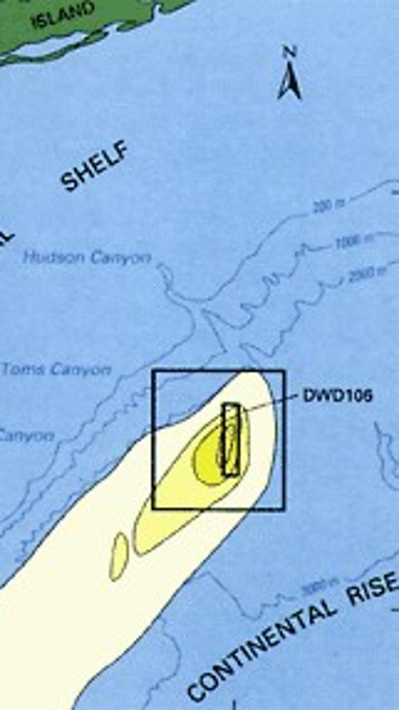 The 106-mile sewage sludge dump site and the predicted rate of sludge particles on the seafloor near the site