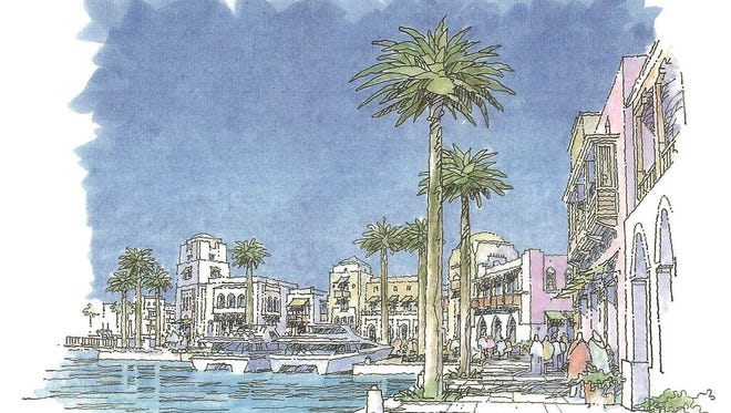 Artist's rendering of plans for the WatersMark proposed resort area in Port Canaveral