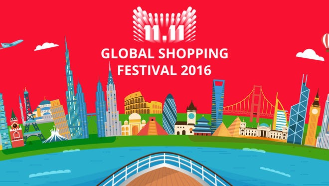 The English logo for Alibaba's global sale held on Nov. 11, known as Singles Day.