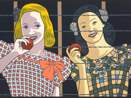 """""""Classmates #1"""" by Roger Shimomura is featured in """"Roger Shimomura: An American Knockoff"""" on exhibit at Hallie Ford Museum of Art Jan. 17 through March 29."""