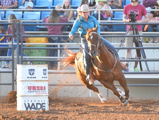 Emily Vigoren, pictured in barrel racing at the 2017