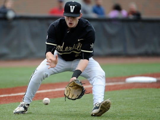 Vanderbilt third baseman Will Toffey is out with a