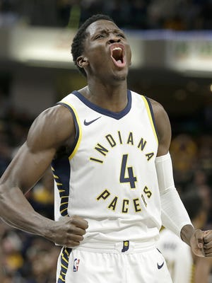 Indiana Pacers guard Victor Oladipo (4) celebrates hitting the game winning 3-point basket with seconds left in their game at Bankers Life Fieldhouse Sunday, Oct. 29, 2017.