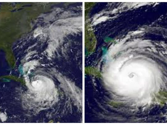 Hurricane Matthew (left) and Hurricane Irma (right)