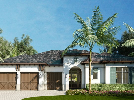 A rendering of a one-story home in The Enclave of Distinction community being built on Livingston Road in North Naples.