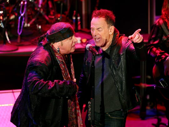 Steven Van Zandt and Bruce Springsteen Induction Ceremony of the New Jersey Hall of Fame at the Paramount Theater in Asbury Park on  May 6, 2018.
