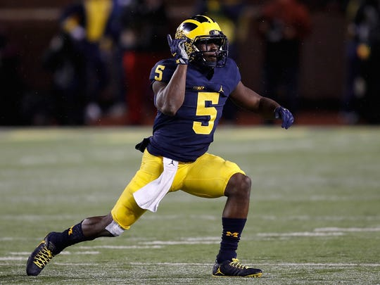Michigan's Jabrill Peppers celebrates a second-half sack against the Indiana Hoosiers on Nov. 19, 2016 at Michigan Stadium in Ann Arbor.