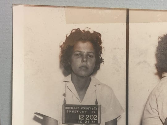 Judith Clark, a convicted member of the Weather Underground, in her original booking photo after the Oct. 20, 1981, Brinks robbery in Nanuet and Nyack.