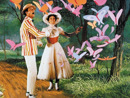 "Dick Van Dyke and Julie Andrews in ""Mary Poppins."""