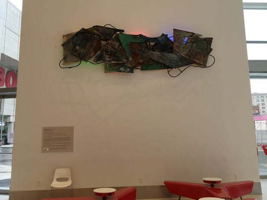 """Robert Sestok's """"Rock and Roll"""" (1978-79), made of painted canvas, cable and lights, is on display at Cobo Center. The work is on loan from Wayne State University."""