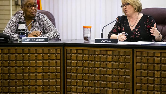 District 186 school board member Judith Johnson, left, at a March 14, 2020 meeting with Superintendent Jennifer Gill. Monday marks Johnson's final meeting after serving on the board for 20 years.