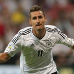 Miroslav Klose celebrates his goal against Austria.