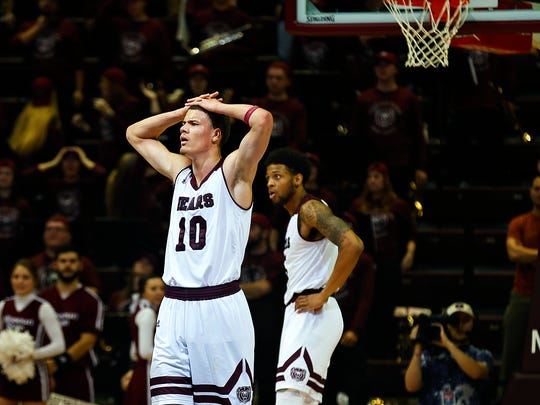 Missouri State Bears forward Jarrid Rhodes (10) reacts after referees call goaltending on the Bears during overtime action of the Missouri Valley Conference college basketball game between the Missouri State Bears and the Drake Bulldogs at JQH Arena in Springfield, Mo. on Jan. 24, 2017. The Drake Bulldogs won the game 72-71.