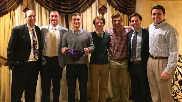 Ok, so they even made me take a picture with the current and former Purple Speedo owners. From left, me, Brian Friedlander, Alec Balasny, Connor Olski, Julian Smith, RJ Olski and Tim Arakelian.