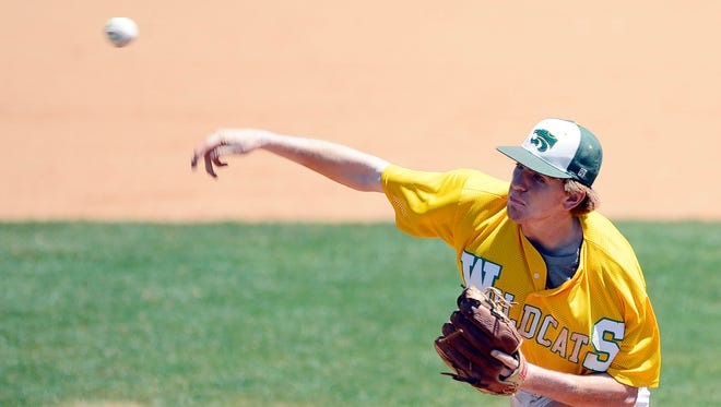 Taylor Hawthorne pitches for Edgewood during first game of the AISA Class A state championship at Paterson Field in Montgomery, Ala., on Tuesday, May 6, 2014.