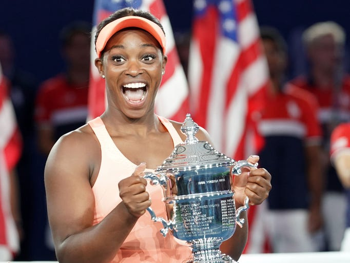 Sloan Stephens with the US Open Trophy after beating