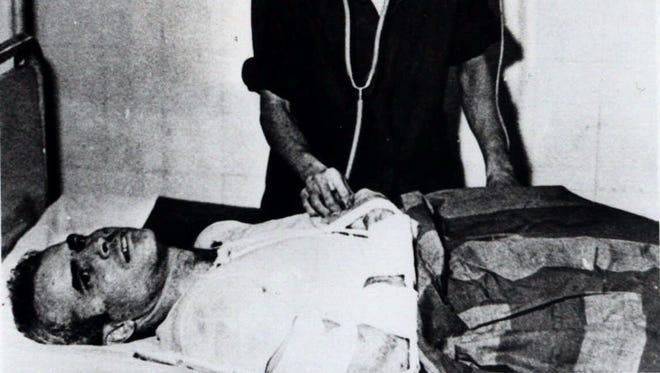 John McCain in a hospital in Hanoi in 1967.