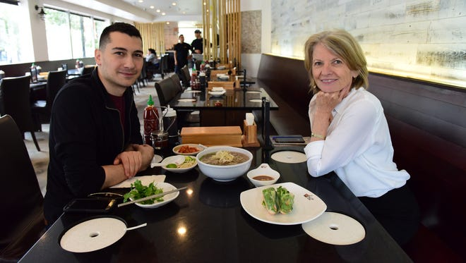 Esther Davidowitz, of The Record, with Joe Cuccia, chef and owner of 17 Summer in Lodi, at Pho 32 in Fort Lee.