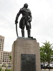 The Casimir Pulaski statue is on Washington Boulevard in downtown Detroit.