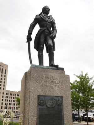 The Casimir Pulaski statue is on Washington Boulevard in downtown Detroit.