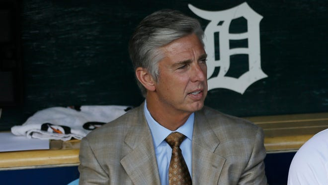 Detroit Tigers general manager Dave Dombrowski sits in the dugout Aug. 2, 2014, in Detroit.