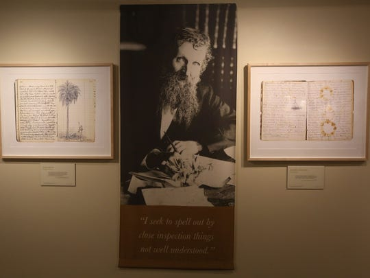 "The La Quinta Museum unveiled three new exhibits as part of the United Nations' designation of 2015 as the International Year of the Light and Light-Based Technologies. ""Nature's Beloved Son: Rediscovering John Muir's Botanical Legacy"" highlights his love of botany and traces his travels through North America. ""Iconic Light"" is a photo exhibit of the Coachella Valley in the 1930s, with rare photos by Ansel Adams and Dorothea Lange. The third exhibit is ""Poetry in Space: Hubble at 25,"" featuring images from the Hubble telescope. In this photo part of the John Muir exhibit is photographed."