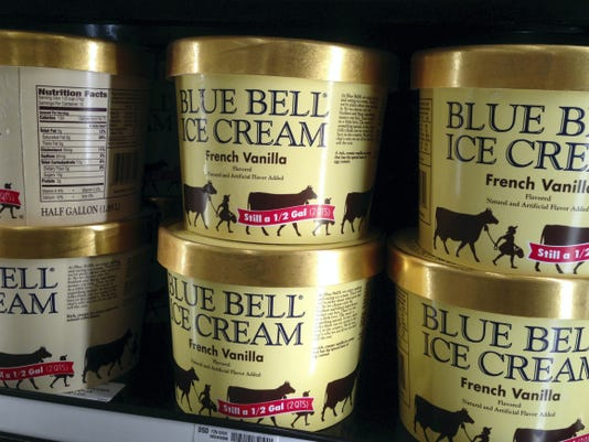 Blue Bell ice cream rests on a grocery store shelf in Lawrence, Kansas, earlier this month. Texas-based Blue Bell Creameries issued a voluntary recall Monday for all of its products on the market after two samples of chocolate chip cookie dough ice cream tested positive for listeriosis. (AP Photo/Orlin Wagner, File)
