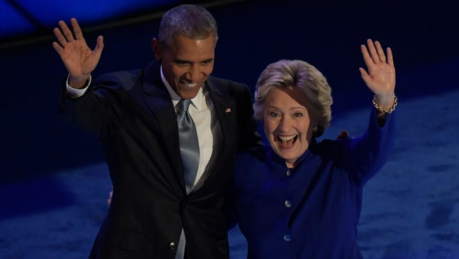 President Obama and Hillary Clinton on stage during the Democratic National Convention on July 27, 2016.