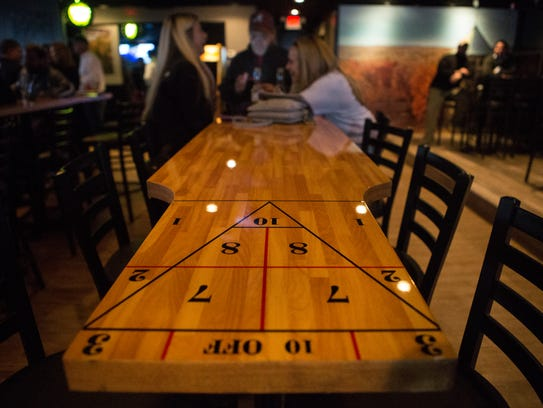 Reclaimed shuffleboard tables are now at The Rockford Tavern near Wilmington's Trolley Square.