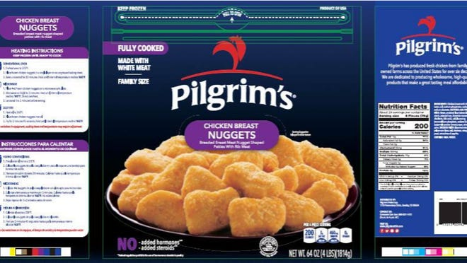 Pilgrim's Pride on Sunday recalled about 59,800 pounds of cooked chicken breast nuggets that may be contaminated with rubber.