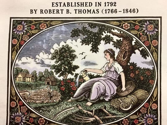 This engraving by Randy Miller appears on the first page of the 2017 Old Farmer's Almanac.