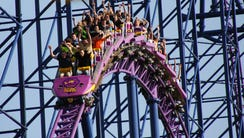 The Bizarro roller coaster at Six Flags New England,