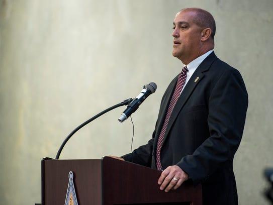 Lafayette Parish Sheriff candidate Chad Leger speaks