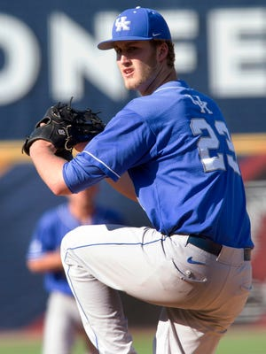 Kentucky's Kyle Cody pitches against Florida during the Southeastern Conference NCAA college baseball tournament Wednesday, May 21, 2014, in Hoover, Ala. (AP Photo/Hal Yeager)